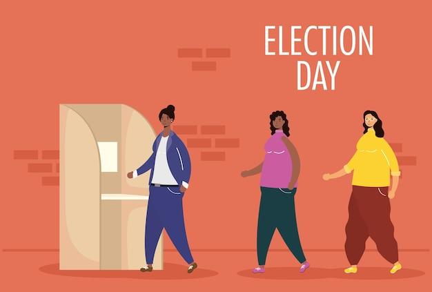 Verkiezingsdag met interraciale vrouwengroep in stemhokje