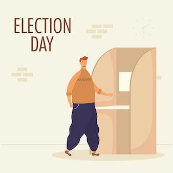 Verkiezingsdag met jonge man in stemhokje