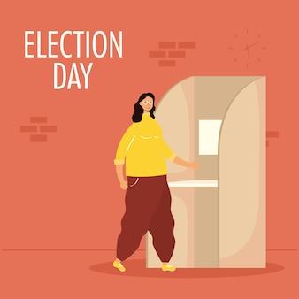 Verkiezingsdag met jonge vrouw in stemhokje