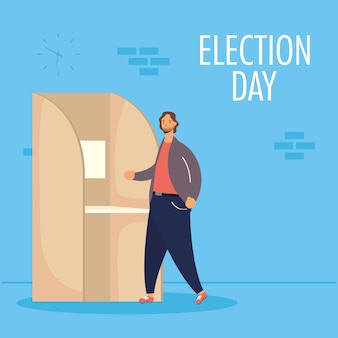 Verkiezingsdag met man in stemhokje