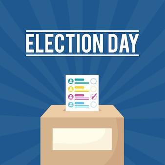 Verkiezingsdag met stemkaart in doos