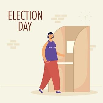 Verkiezingsdag met vrouw in stemhokje