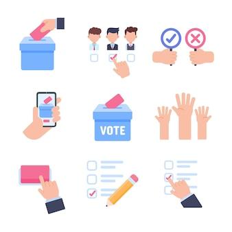 Verkiezingsstemming vector. de hand met de stemkaart van de meeste mensen bij het maken van een keuze.