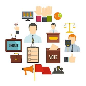 Verkiezingsstemmingspictogrammen die in vlakke stijl worden geplaatst