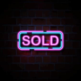Verkocht neon stijl teken illustratie