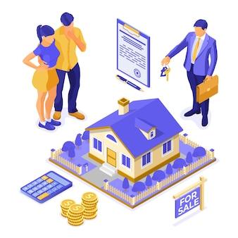 Verkoop, aankoop, huur, hypotheekhuis isometrisch concept voor landing, adverteren met huis, makelaar, sleutel, familie denkt dat geld in onroerend goed wordt geïnvesteerd. geïsoleerd