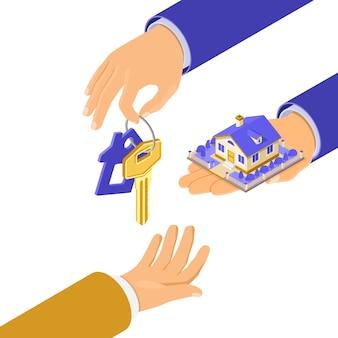 Verkoop, aankoop, huur, hypotheekhuis isometrisch concept voor poster, landing, reclame met huis en sleutel bij de hand, investeert geld in onroerend goed.