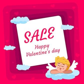 Verkoop achtergrond met cupido voor valentijnsdag