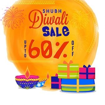Verkoop achtergrond met decoratieve cadeaus voor diwali