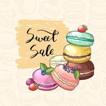 Verkoop achtergrond met gekleurde hand getrokken bitterkoekjes voor banketbakkerij. makaron en cake vintage, gekleurde zoetwaren illustratie