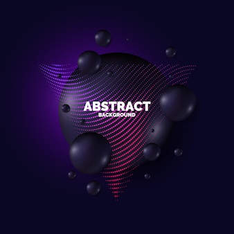 Verkoop affiche. zwarte druppels op de achtergrond. abstracte illustratie met driedimensionale vormen.