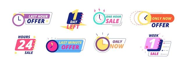 Verkoop aftellen banners. aanbieding voor de laatste dag, uur en minuut. grote deal beperkte verkoop