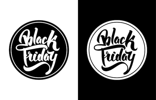 Verkoop badge met hand belettering black friday. moderne borstelkalligrafie.