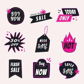 Verkoop badge sticker, doodle winkelen clipart vector set