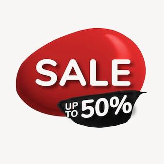 Verkoop badge sticker, rode abstracte verf druppel, winkelen afbeelding vector