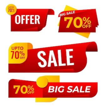 Verkoop banner collectie vector. websitestickers, webpaginaontwerp in kleur. reclame-element. winkelen achtergronden. geïsoleerde illustratie