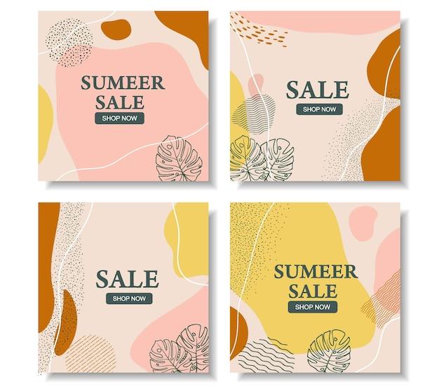 Verkoop banner in vierkant formaat voor instagram, abstract bloemdessin