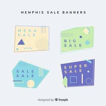Verkoop banner memphis stijlenset