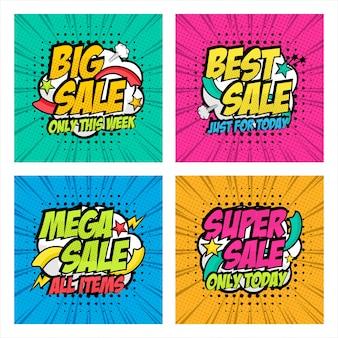 Verkoop banner pop-art stijl design collectie