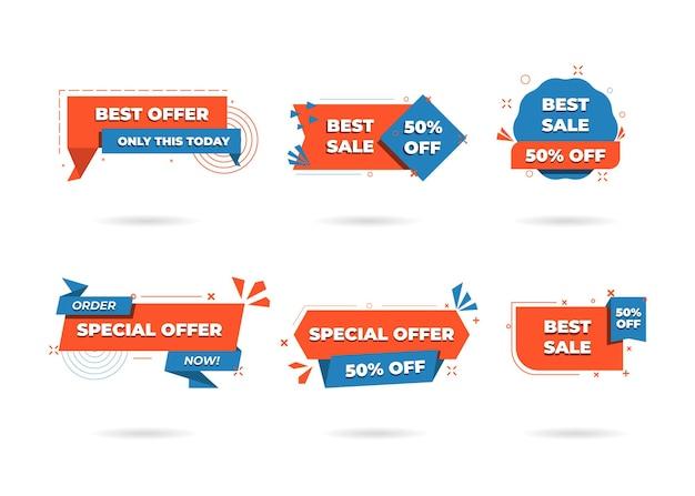 Verkoop banner sjablonen ontwerp. speciale aanbieding-tags. super verkoopkortingen. flash-verkoopkorting. mega-verkoopaanbieding. grote uitverkoop. speciale uitverkoop. kortingstagset