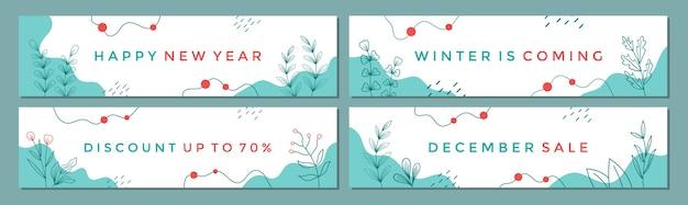 Verkoop banner sjabloon collectie voor promotie verkoop met winter concept.