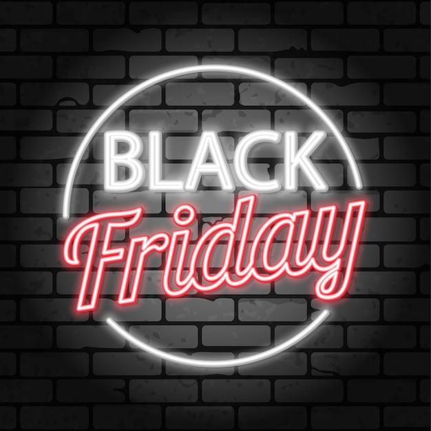 Verkoop banner sjabloon zwarte vrijdag verkoop neon uithangbord