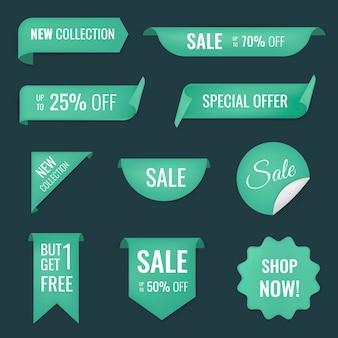 Verkoop banner sticker, lege vector winkelen clipart set Gratis Vector