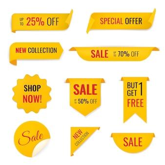 Verkoop banner sticker, lege vector winkelen clipart set