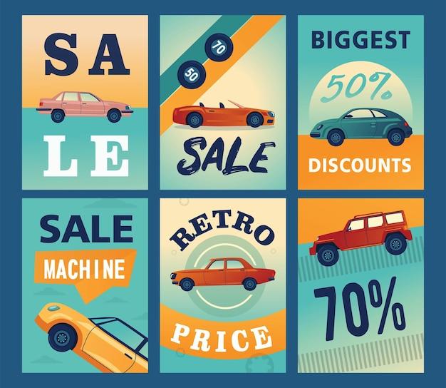 Verkoop bannerontwerpen met verschillende auto's.