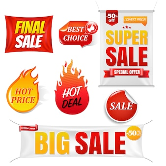 Verkoop banners grote verkoop achtergrond