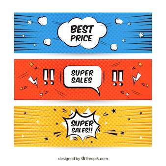 Verkoop banners in komische stijl