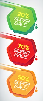 Verkoop banners instellen. kortingen en aanbiedingen voor uw bedrijf., eps10, bevat transparanten
