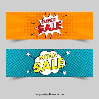 Verkoop banners met komische stijl
