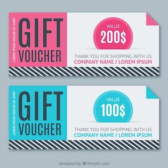 Verkoop coupons in roze en blauwe kleuren met strepen