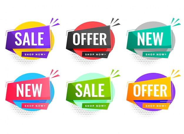 Verkoop en aanbiedingenetiketten die voor bedrijfsbevordering worden geplaatst