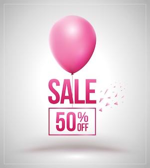 Verkoop en ballon geïsoleerd kortingsaanbieding prijsetiket