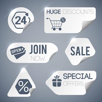 Verkoop en detailhandel grijze etiketten die met speciale aanbiedingen symbolen papieren stijl geïsoleerde illustratie