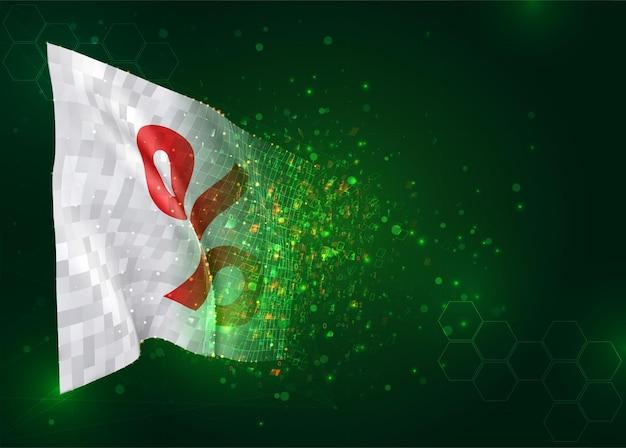 Verkoop en kortingen op 3d-vlag op groene achtergrond met veelhoeken