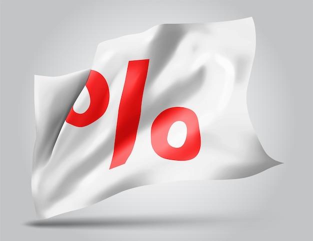 Verkoop en kortingen op vector 3d vlag die op witte achtergrond wordt geïsoleerd