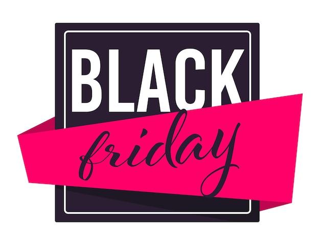 Verkoop en kortingen voor zwarte vrijdag vakantie, geïsoleerde banner met lint en kalligrafische tekst. winkelen in de winkel, producten kopen met korting, promotie en advertentievector in flat