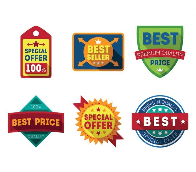 Verkoop etiketten en linten set ontwerpelementen