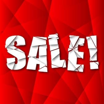 Verkoop gesneden papier poster op rode achtergrond, vectorillustratie