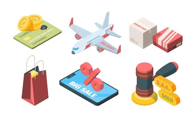 Verkoop goederen in online winkel isometrische set. smatrphone grote kortingssite dozen van online winkel snelle levering vliegtuig veiling hamer laatste seconden verkoop creatieve boodschappentas.