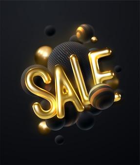 Verkoop, gouden tekst. verkoop belettering van goud op zwarte achtergrond. bal 3d.