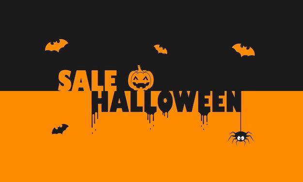 Verkoop halloween-banner. decoratie. bedrijfsconcept. pompoen, vleermuis en spin decor. vector op geïsoleerde achtergrond. eps-10.