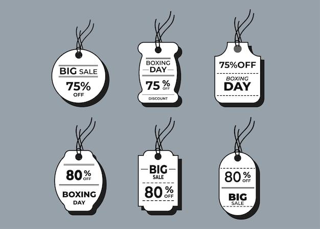 Verkoop horizontale labels en prijskaartje, verkoopkaart en kortingssticker.
