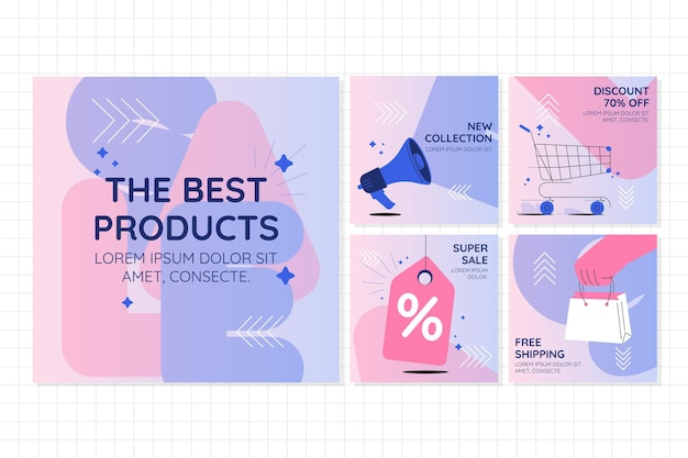 Verkoop instagram postpakket plat ontwerp