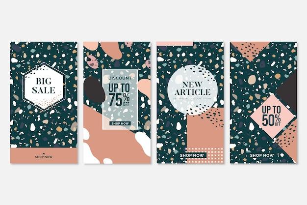 Verkoop instagram verhalencollectie in terrazzo en hand getrokken stijl