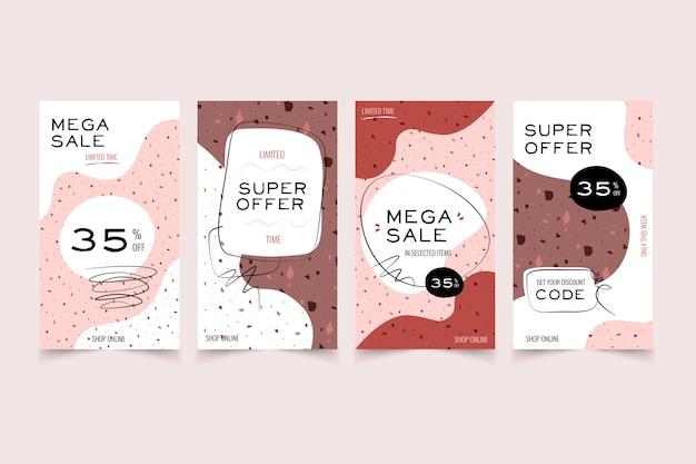 Verkoop instagram verhalencollectie in terrazzo en handgetekende stijl