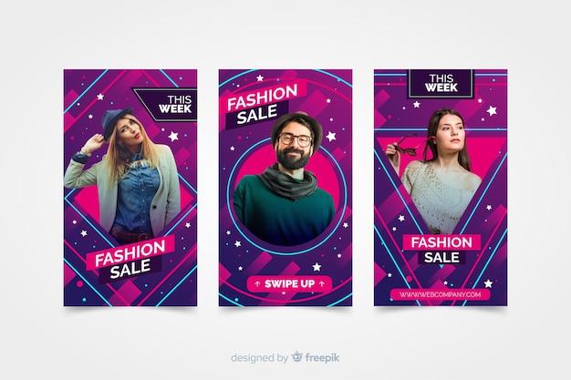 Verkoop instagramverhalen van de mode met foto